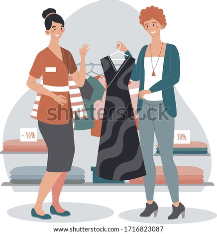 Shop assistant helps woman choose new fashion dress, customer and consultant people, vector illustration. Sale in clothing store boutique, stylist recommendation. Friendly client service approach