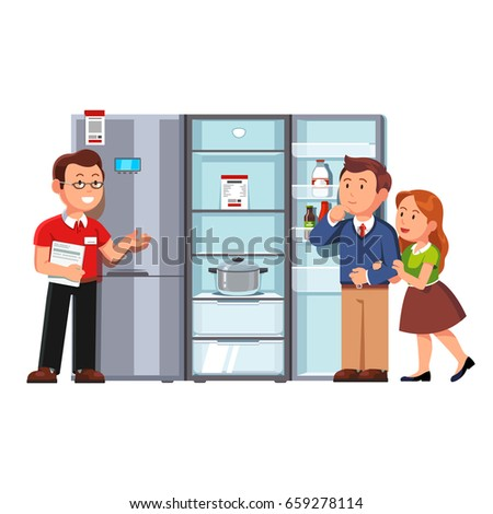 Shop assistant seller showing single door refrigerator to clients man & woman.  Domestic appliances store customers family couple buying new fridge. Retail business concept. Flat vector illustration.