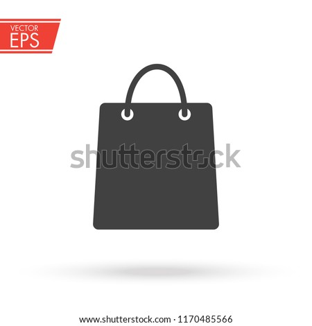 Shop bag icon. Shopping packet pictogram. Sale symbol. Gift package sign. Buy store sticker. Fashion market illustration. Purchase present box emblem.