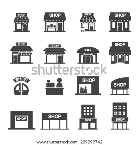 Shutterstock shop building icon set