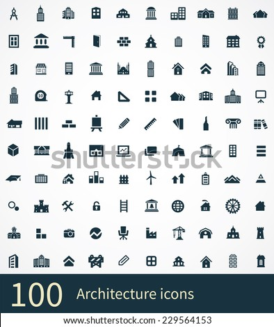 shop building icons on white background