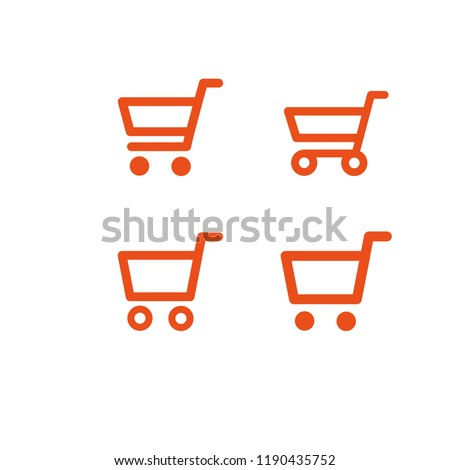 Shop carts, online sale symbol, vector set, isolated icons
