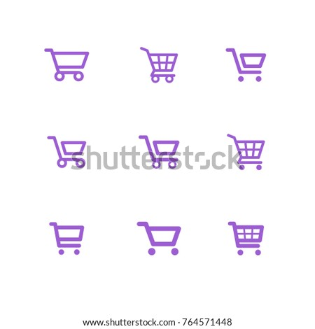 Shop carts vector set, isolated icons