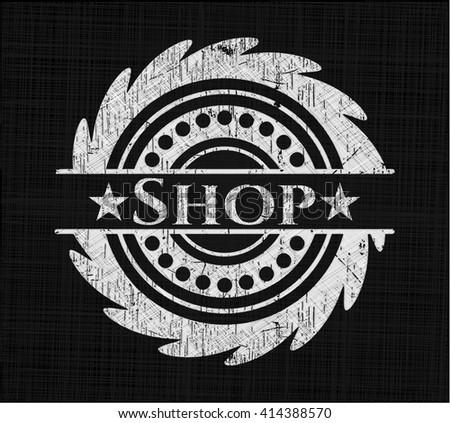 Shop chalk emblem, retro style, chalk or chalkboard texture