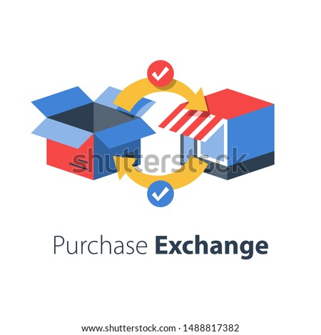 Shop delivery, receive parcel, pick up point, return order to store, product replacement, send back purchase, vector flat illustration