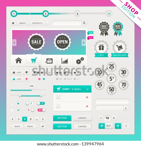 Shop edition of vector ui elements for web and mobile. Controls, buttons and icons. Fitted to the pixel grid.