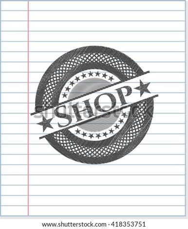 Shop emblem with pencil effect