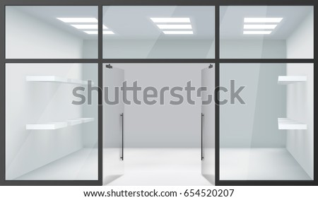 Shop Empty Interior Front Store 3d Realistic Windows Space Open Doors Shelves Template Mockup Background Vector Illustration