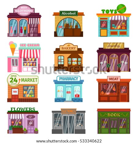 shop facade vector set