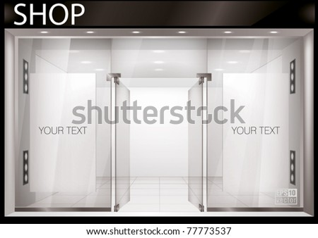Shop Front. Exterior horizontal windows empty for your store product presentation or design. Eps10 vector - stock vector