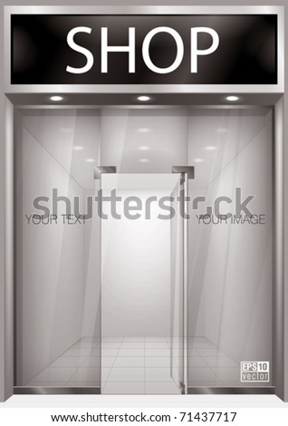 Shop Front. Exterior windows empty for your store product presentation or design. Eps10 vector
