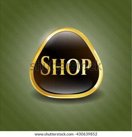 Shop gold emblem or badge