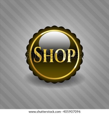 Shop golden emblem or badge