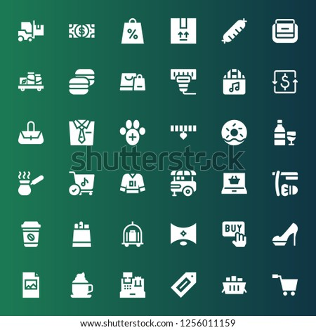 shop icon set. Collection of 36 filled shop icons included Shopping cart, Label, Cash register, Coffee, Print, Heels, Buy, , Trolley, Paper bag, Shave, Shopping online, Food stand #1256011159