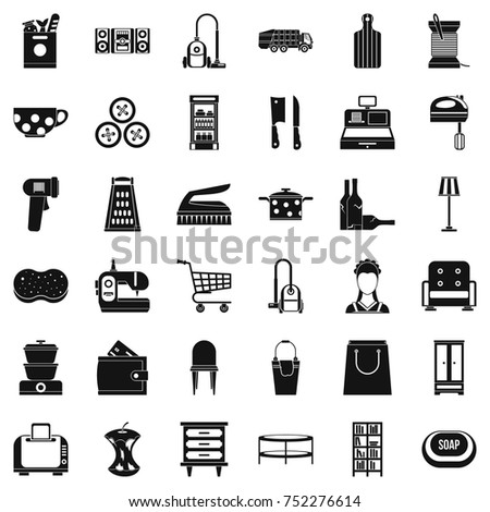 Shop icons set. Simple style of 36 shop vector icons for web isolated on white background