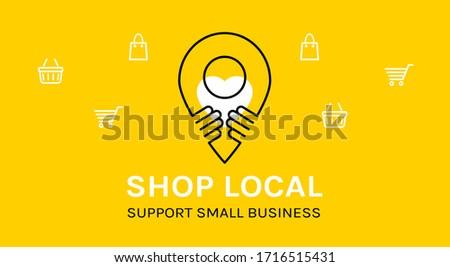 Shop local. Support small business. Coronavirus Quarantine. Vector Photo stock ©