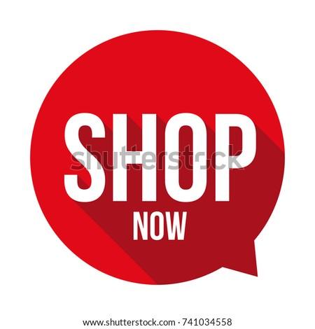 Shop Now sign button speech bubble