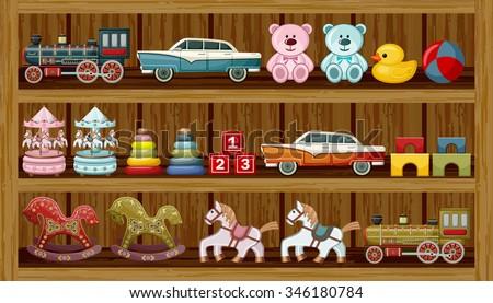 Shop Of Vintage Toys Vector Illustration