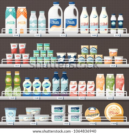 Shop or store counter or stall with dairy products. Milk and yogurt, cheese at supermarket showcase. Vegetarian grocery with price tags or labels, shelf or refrigerator with groceries. Food and drink