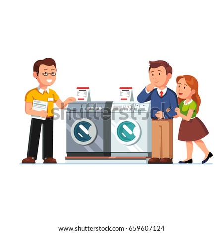 Shop seller assistant showing washing, drying machines to customers man & woman. Family couple buying new washer in domestic appliances store. Retail business. Flat style vector isolated illustration.