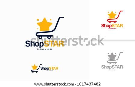 Shop Star logo designs concept, Shopping Cart logo design template vector