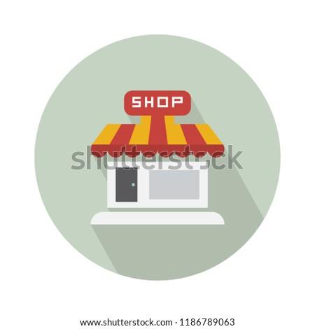 shop store icon, storefront or supermarket illustration. shopping sign symbol