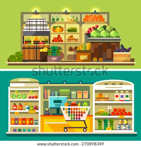 Shop, supermarket interior: showcases, fruits, vegetables, drinks, sweets, cash, shopping basket. Healthy eating and eco food. Vector flat illustrations