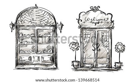 Window drawings download free vector art stock graphics images shop window and entrance door drawing retro style thecheapjerseys Images