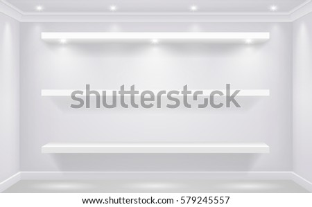 Shop-window shelf for white goods illuminated against the background of a white wall of the store. Vector graphics