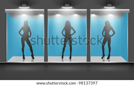 Shop with glass windows and women silhouette, front view. Vector exterior.