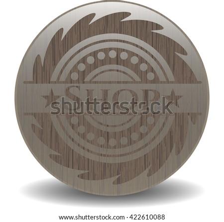 Shop wood emblem. Retro