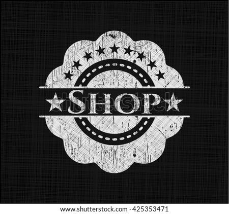 Shop written on a blackboard