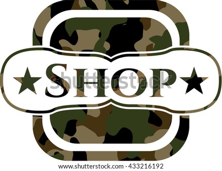 Shop written on a camouflage texture