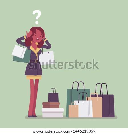 shopaholic woman buying too
