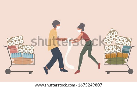 Shopper male and female fight for the toilet paper and hoarding food to prepare for the worst in virus spreads ストックフォト ©