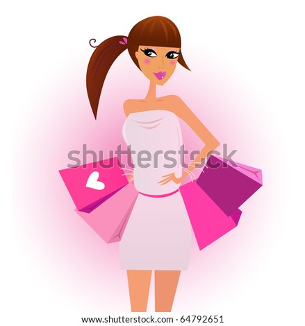 Shopper - shopping girl with pink shopping bags isolated on white. Vector Illustration.