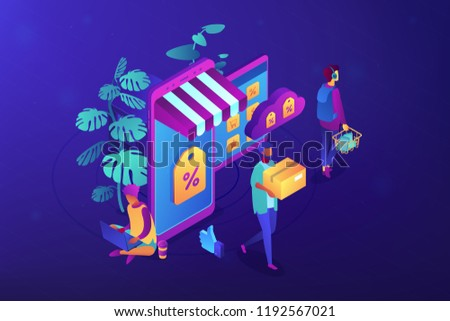 Shoppers buying with gadgets in online discount store. Outlet store and online sale, clearance and percent, ecommerce and special offer concept. Ultraviolet neon vector isometric 3D illustration.