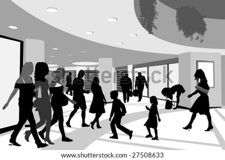 shoppers in shopping center