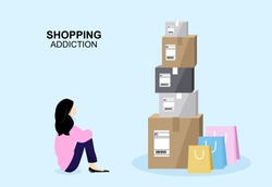 Shopping addiction concept. One woman addictive  bought many expensive things through shopping online. Flat style vector illustration.