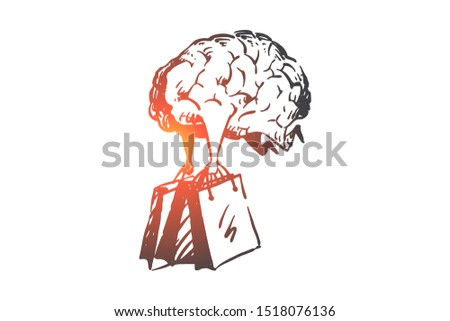 Shopping addiction, consumerism concept sketch. Hand drawn isolated vector