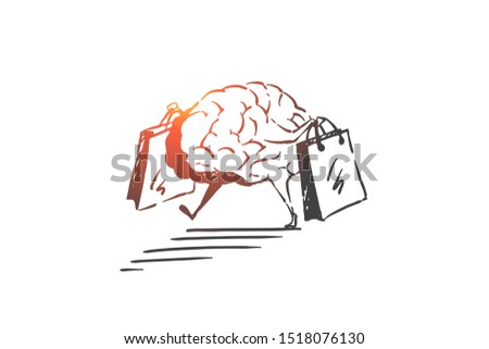 Shopping addiction, consumerism problem concept sketch. Hand drawn isolated vector