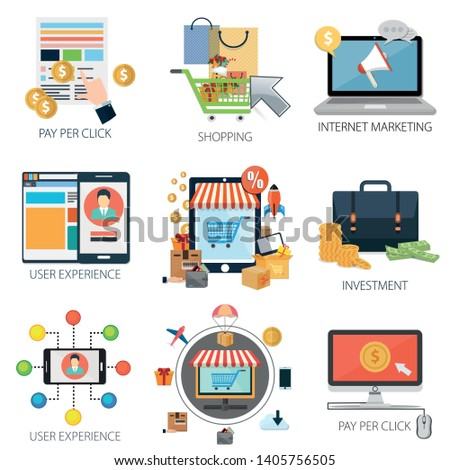 shopping and commerce with Pay Per Click, Internet Marketing, User Experience, Investment Online