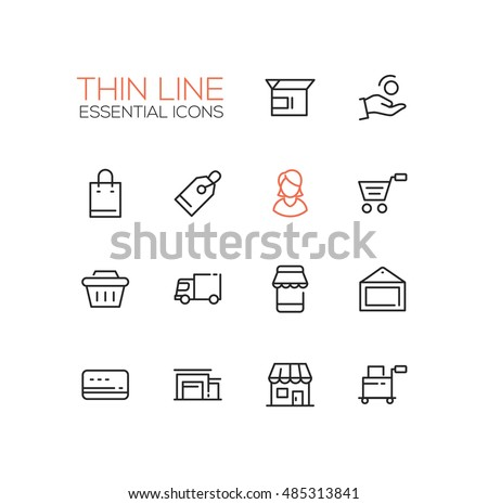 Shopping and delivery symbols - set of modern vector thin line design icons and pictograms. Box, coin, hand, bag, tag, female, cart, basket, truck, storefront, picture, credit card shop warehouse