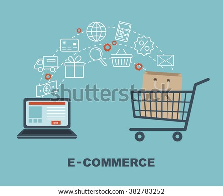 Shopping and e-commerce graphic design with icons, vector illustration.