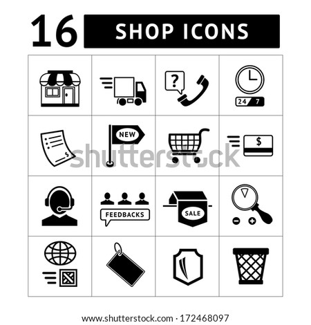Shopping and e-commerce icons set isolated on white. Vector illustration