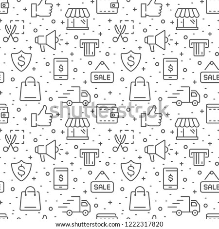 Shopping and e-commerce vector seamless pattern