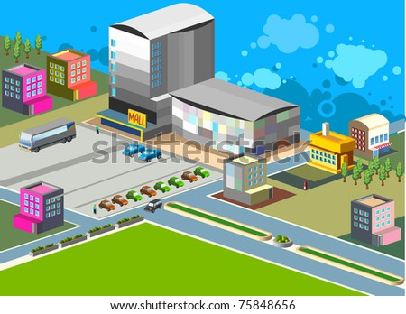 shopping and mall isometric set. very detail isometric vector. separated elements.custom it