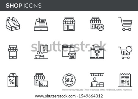 Shopping and Market Vector Line Icons Set. Store, Seller, Sale, Cash Register, Cashier. Perfect pixel icons, such can be scaled to 24, 48, 96 pixels.