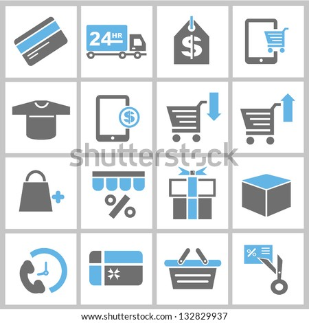 shopping and marketing concept icons set
