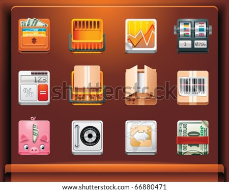 Shopping and money. Mobile devices apps/services icons. Part 11 of 12